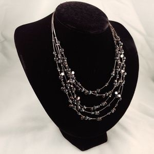 Jewelry - Bead Rhinestone Wire Necklace Black Gray Silver
